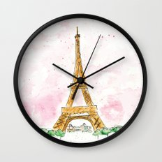Pink Sky Eiffel Tower Watercolor Wall Clock
