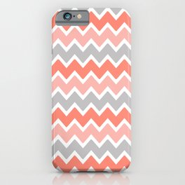 Coral Orange and Peach and Gray Grey Chevron iPhone Case