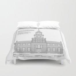 Independence Hall Blueprint Schematics Duvet Cover