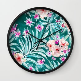 FRONDS ON FLEEK Tropical Palm Floral Wall Clock