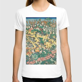 Frog Battle Japanese Print by Kawanabe Kyosai, 1864 T-shirt