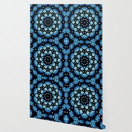 Blue Black Mosaic Kaleidoscope Mandala Wallpaper