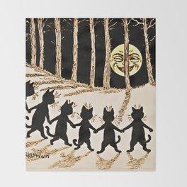 Cats & a Full Moon-Louis Wain Black Cats Throw Blanket