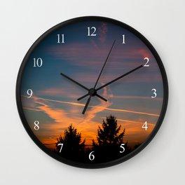 Evening aeroplane contrails sunset Wall Clock