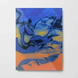 Orange and Blue Abstract. Mixed Media. Metal Print