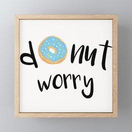 Donut Worry Blue Framed Mini Art Print