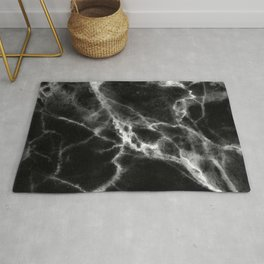 Smoky Suede Black Marble With Ivory White Veins Rug