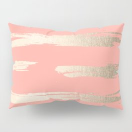 Simply Brushed Stripe in White Gold Sands on Salmon Pink Pillow Sham