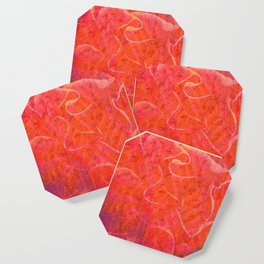 Flaming Rose, Floral Abstract Art Coaster