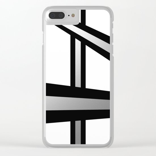 Bold Metallic Beams - Minimalistic, abstract black and white artwork Clear iPhone Case