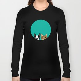 Boston Terrier & Tabby Long Sleeve T-shirt