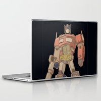 optimus prime Laptop & iPad Skins featuring Optimus Black by colleencunha