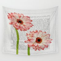 writing Wall Tapestries featuring Old Writing by Susann Mielke
