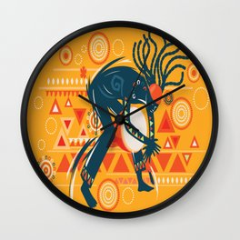 Man Playing Djembe African Music Vector Wall Clock