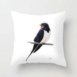 Barn swallow, Bird painting Throw Pillow