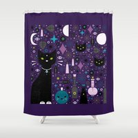 kittens Shower Curtains featuring Halloween Kittens  by Carly Watts