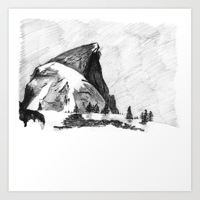 Drawing of Half-Dome in Yosemite from the north Art Print