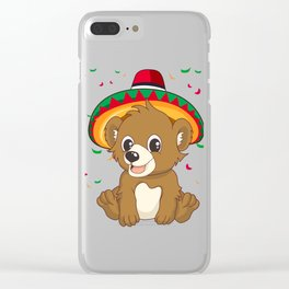 Cute Bear with Mexican Hat Cinco De Mayo T-Shirt Clear iPhone Case
