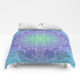 White Lace Mandala in Blue, Green and Purple Comforters