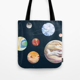 Marbly Warbly Planets Tote Bag
