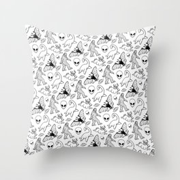 Cryptid Lineart Pattern 2 (White) Throw Pillow