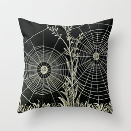 Black and White Vintage Animal Biological Illustration of American Spiders and Spiderwebs  Throw Pillow