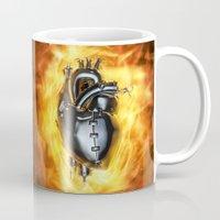 heavy metal Mugs featuring Heavy metal heart by GrandeDuc