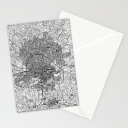 Raleigh North Carolina Map (1990) BW Stationery Cards