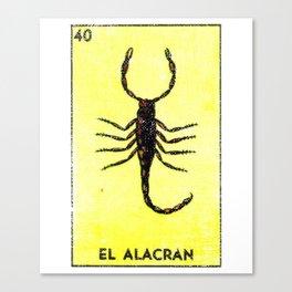 El Alacran Mexican Loteria Bingo Card Canvas Print