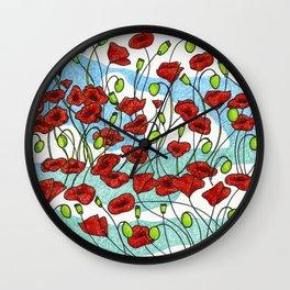 Field Poppies Wall Clock