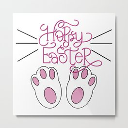 Hoppy Easter Bunny Feet and Whiskers Metal Print