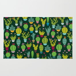 Dark cactus pattern Rug