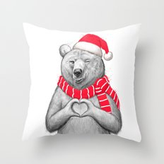 christmas bear #2 Throw Pillow