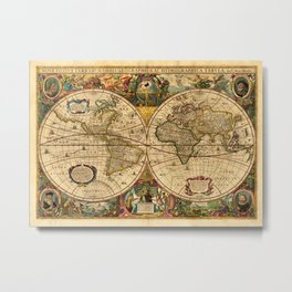 1663 Orbis Geographica Old World Map by Henri Hondius Metal Print