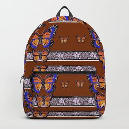 COFFEE BROWN BLUE MONARCHS BUTTERFLY BANDS ART Backpack