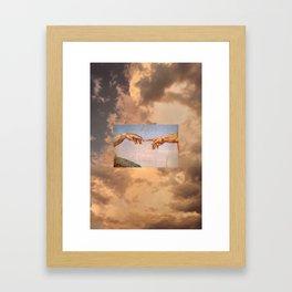 The Creation of Adam Michelangelo Cloudscape Hands Framed Art Print