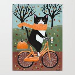 Tuxedo Cat Autumn Bicycle Ride Poster