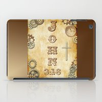 bible verse iPad Cases featuring Steampunk Bible Verse John 3:16 by Whimsy and Nonsense