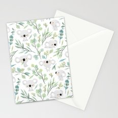 Koala and Eucalyptus Pattern Stationery Cards