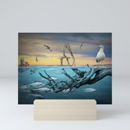 Floating Driftwood with Gulls and School of Fish Mini Art Print