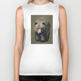 Bear background Biker Tank