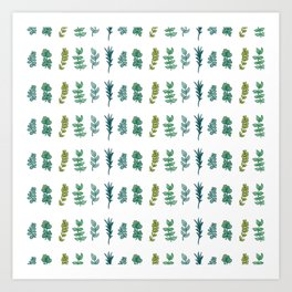 Six Leaves in Blue and Green Art Print