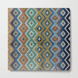 Geometric Art, Aztec Prints, Colourful, Wall Art Boho Metal Print