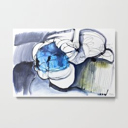 Waterink Blue Metal Print