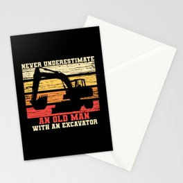 Old Man With An Excavator Stationery Cards