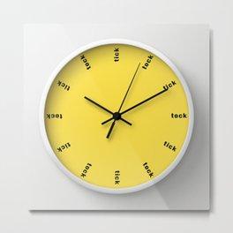 clock tick tock ~ yellow Metal Print