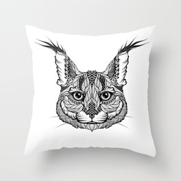 CARACAL / LYNX head. psychedelic / zentangle style Throw Pillow