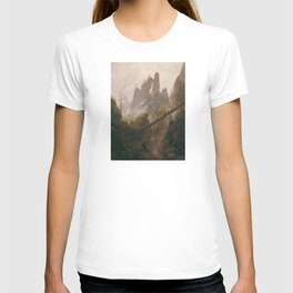 Caspar David Friedrich - Rocky Lanscape in the Elbe Sandstone Mountains T-shirt