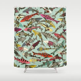 shark party summer Shower Curtain