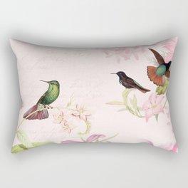 Vintage & Shabby Chic - Blush Tropical Hummingbird Flower Garden Rectangular Pillow